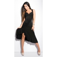 SEXY SALSA LATINO DRESS WITH LACE AND SEQUINS BLACK Onesize (UK 8,10,12)