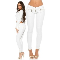 SEXY LEDER-LOOK DAMEN HOSE MIT ZIPPER AM BEIN WETLOOK WEISS