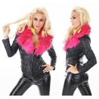 SEXY LEATHER-LOOK BIKER JACKET WITH FAKE FUR BLACK/FUCHSIA