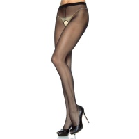 SEXY LEG AVENUE CROTCHLESS NYLON PANTYHOSE BLACK