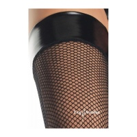 SEXY LEG AVENUE FISHNET STOCKINGS WITH LATEX TOP BLACK