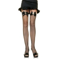 SEXY LEG AVENUE NYLON FISHNET STOCKINGS WITH DOLLAR SIGN BLACK