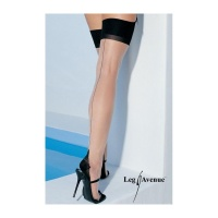 SEXY LEG AVENUE NYLON STOCKINGS WITH CUBAN HEEL AND CENTER BACK SEAM NUDE/BLACK