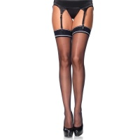 SEXY LEG AVENUE NYLON STOCKINGS WITH STRIPED BAND TOP BLACK
