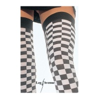 SEXY LEG AVENUE NYLON CHEQUERED PATTERN THIGH-HIGH STOCKINGS BLACK/WHITE