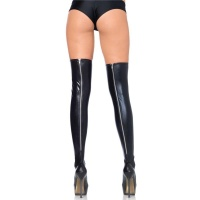 SEXY LEG AVENUE WET LOOK STOCKINGS WITH ZIPPER BLACK