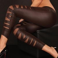 SEXY LEGGINGS CLUBBING WET LOOK DARK BROWN Onesize (UK 8,10,12)