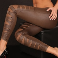 SEXY LEGGINGS CLUBBING WET LOOK LIGHT BROWN Onesize (UK 8,10,12)
