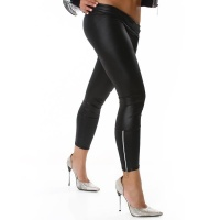 SEXY WET LOOK LEGGINGS WITH ZIPPER BLACK