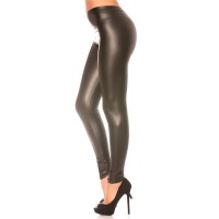 SEXY SKINNY LEGGINGS IN SHINY LEATHER LOOK WET LOOK BLACK