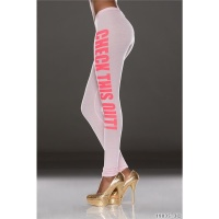 SEXY LEGGINGS MIT AUFSCHRIFT CHECK THIS OUT ROSA/NEON-PINK 34/36 (S/M)