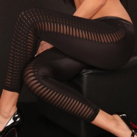 SEXY LEGGINGS WITH OPENWORK CLUBBING WET LOOK BLACK Onesize (UK 8,10,12)