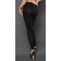TRENDY LEGGINGS WITH PEEKABOO DESIGN BLACK Onesize (UK 8,10,12)