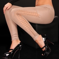 SEXY LEGGINGS WITH OPENINGS WET LOOK BEIGE Onesize (UK 8,10,12)