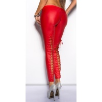 SEXY LEGGINGS WITH LACINGS AT THE BACK SIDE WET LOOK CLUBWEAR RED