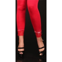 SEXY LEGGINGS WITH LACE RHINESTONES RED Onesize (UK 8,10,12)