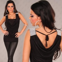 SEXY LONG-TOP WASSERFALL-LOOK STRASS-OPTIK SCHWARZ