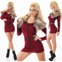 EXTRAVAGANT FINE-KNITTED SWEATER/MINIDRESS WITH FAKE FUR WINE-RED Onesize (UK 8,10,12)