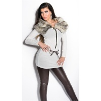 EXTRAVAGANT FINE-KNITTED SWEATER/MINIDRESS WITH FAKE FUR CREAM