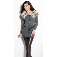 EXTRAVAGANT FINE-KNITTED SWEATER/MINIDRESS WITH FAKE FUR DARK GREY Onesize (UK 8,10,12)