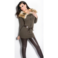 EXTRAVAGANT FINE-KNITTED SWEATER/MINIDRESS WITH FAKE FUR KHAKI