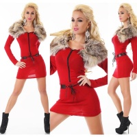 EXTRAVAGANT FINE-KNITTED SWEATER/MINIDRESS WITH FAKE FUR RED Onesize (UK 8,10,12)