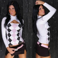 SEXY LONG-SLEEVED BOLERO-SHIRT CHEQUER WHITE