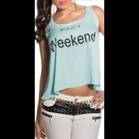 SEXY LOOSE-FIT CHIFFON TOP WITH PRINT SMILE, ITS WEEKEND...