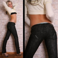 SEXY LOW CUT BT JEANS DARK DENIM SCHWARZ 38