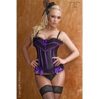 SEXY LUXURY CORSAGE WITH SATIN LACE LACING BLACK/PURPLE
