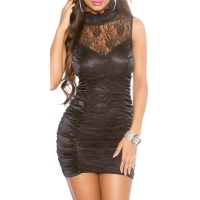 SEXY PARTY MINIDRESS WITH FINE LACE CLUBWEAR BLACK