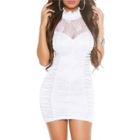 SEXY PARTY MINIDRESS WITH FINE LACE CLUBWEAR WHITE