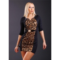 SEXY MINI EVENING DRESS WITH GOLDEN BUCKLE BLACK/LEOPARD