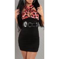 SEXY MINIDRESS LEOPARD-LOOK WITH BELT BLACK/RED