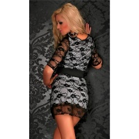 PRECIOUS LACE MINIDRESS WITH BELT BLACK/WHITE