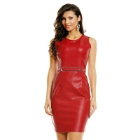 SEXY MINI DRESS MADE OF SOFT IMITATION LEATHER WITH BUCKLE RED UK 10/12 (M/L)