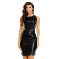 SEXY MINIDRESS MADE OF SOFT IMITATION LEATHER WITH BUCKLE BLACK UK 10/12 (M/L)