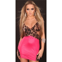 SEXY MINIDRESS GOGO CLUBWEAR LEOPARD-LOOK BROWN/FUCHSIA