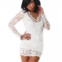 SEXY MINIDRESS DRESS MADE OF LACE CREAM UK 8