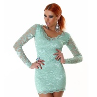 SEXY MINIDRESS DRESS MADE OF LACE MINT GREEN UK 10