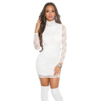 SEXY MINIDRESS DRESS MADE OF LACE WHITE