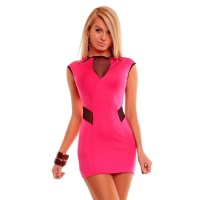 SEXY MINIDRESS WITH CHIFFON CLUBWEAR FUCHSIA/BLACK