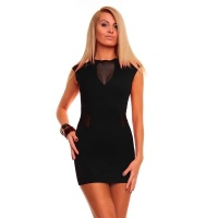 SEXY MINIDRESS WITH CHIFFON CLUBWEAR BLACK UK 8/10 (S/M)