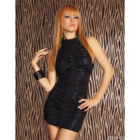 SEXY MINIDRESS WITH RUFFLES CLUBWEAR BLACK UK 10/12