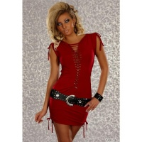 SEXY MINIDRESS WITH LOOPS AND SMALL RIBBONS RED