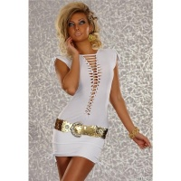 SEXY MINIDRESS WITH LOOPS AND SMALL RIBBONS WHITE