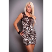SEXY MINIDRESS WITH LACE BLACK/LEO