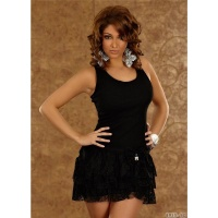 SEXY MINI DRESS WITH LACE LOOP RHINESTONES BLACK UK 12 (L)