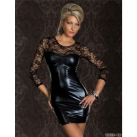 SEXY MINIDRESS WITH LACE WET LOOK CLUBWEAR BLACK UK 8/140 (S/M)