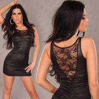 SEXY MINIDRESS WITH LACE WET LOOK BLACK